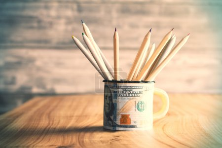 Dollar mug with pencils