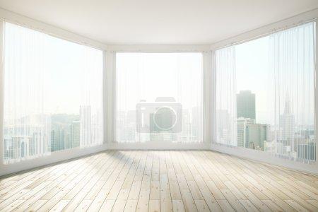 Photo pour Design d'intérieur ensoleillé avec fenêtres panoramiques offrant une vue sur la ville de révéler. rendu 3D - image libre de droit