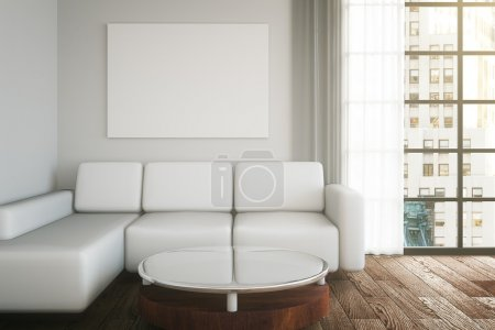 Light interior design with couch, table, blank poster on wall and dark wooden floor. Mock up, 3D Rendering