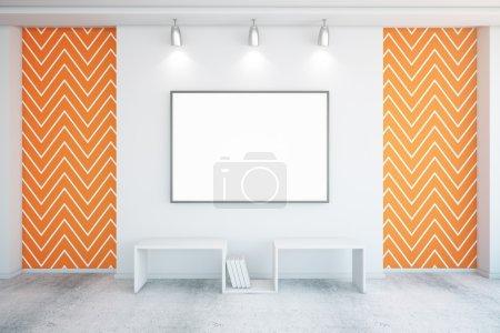 Photo pour Cadre photo vierge à l'intérieur en béton avec insertions de papier peint en zigzag orange. Maquette, rendu 3D - image libre de droit