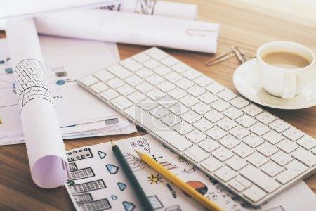 Keyboard on desk
