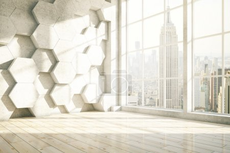 Photo for Honeycomb interior with New York city view. 3D Rendering - Royalty Free Image