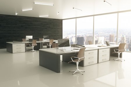 Photo for Sideview of light office interior with city view and sunlight. 3D Rendering - Royalty Free Image