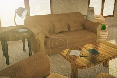 Couch and table in interior