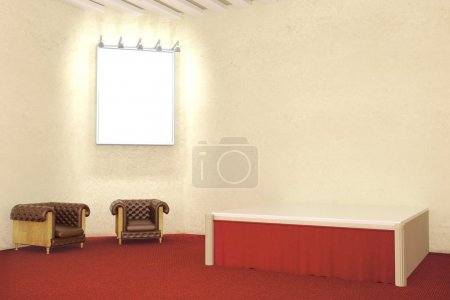 Photo for Blank illuminated picture frame in room with red carpet flooring, concrete wall and two leather armchairs. Mock up, 3D Rendering - Royalty Free Image