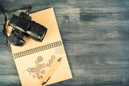 Camera, coins and pen