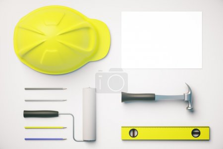 White desktop with tools