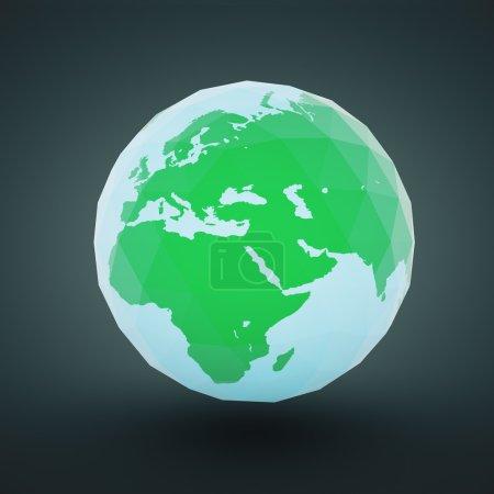 Photo for Polygonal globe design on dark background. 3D Rendering - Royalty Free Image