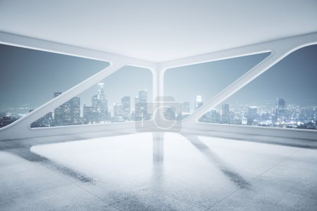 Photo pour Vue latérale du design d'intérieur avec plancher de béton, plafond et créative de fenêtre avec vue sur la ville nuit. rendu 3D - image libre de droit