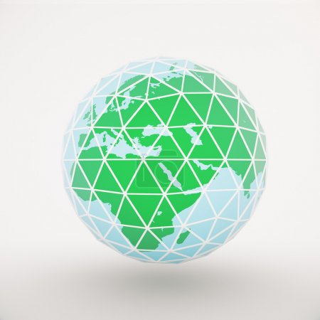 Framed polygonal globe light background