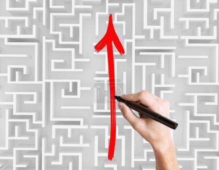 Drawing arrow on maze top