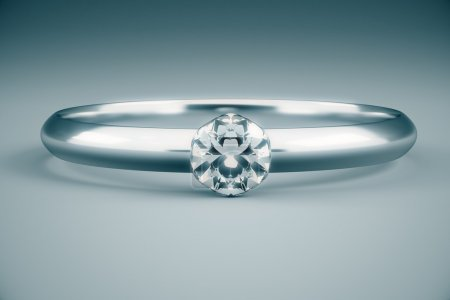 Beautiful diamond ring on grey background. 3D Rendering