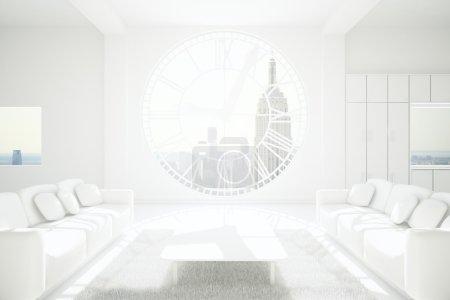 Photo pour Décoration salon blanc dotées de murs en béton, tapis, table, deux canapés et énorme horloge en forme de fenêtre avec vue sur la ville de New York et du soleil. rendu 3D - image libre de droit