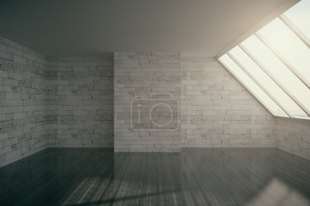 Photo for Empty loft interior with brick wall, cocrete ceiling, dark wooden floor and window.3D Rendering - Royalty Free Image