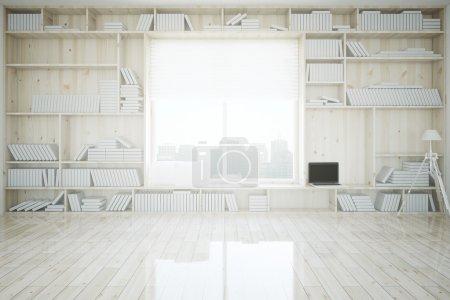 Photo pour Intérieur créatif avec bibliothèque intégrée, ordinateur portable blanc, plancher en bois clair et fenêtre avec vue sur la ville. Rendu 3d - image libre de droit