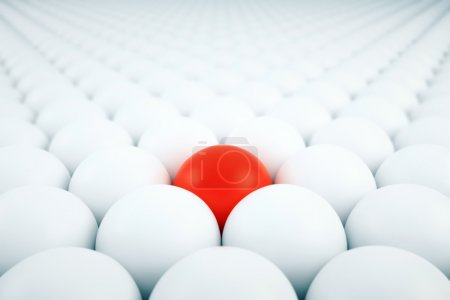 Photo for Alone red ball among white. 3D Rendering - Royalty Free Image