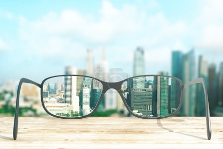 Photo for Cityscape focused in glasses lenses. 3D Rendering - Royalty Free Image