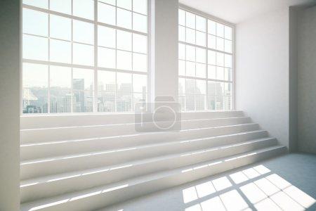 Photo pour Vue latérale de l'intérieur en béton avec escaliers, lumière du jour et fenêtres avec vue sur la ville. Rendu 3D - image libre de droit