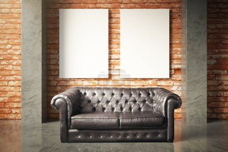 Luxurious sofa and blank poster