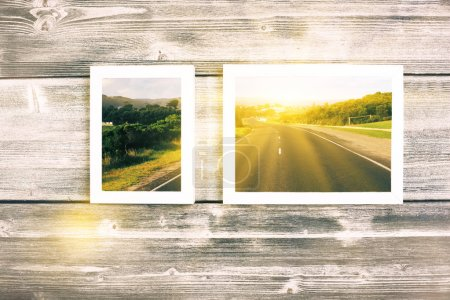 Photo for Aged wooden wall with realistic landscape pictures and sunlight - Royalty Free Image