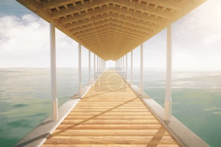 Sea pier with roof