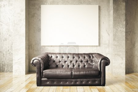 Sofa and blank billboard