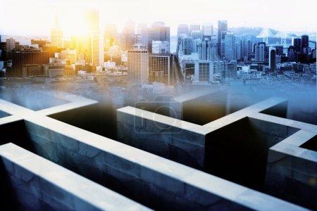 Maze on city background