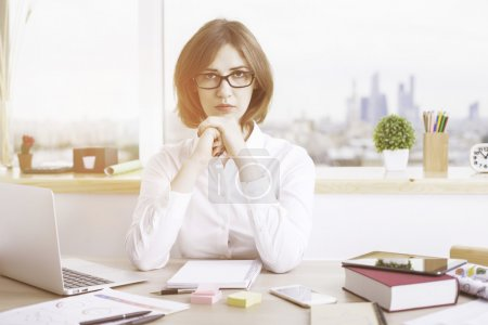 Focused businesswoman in office