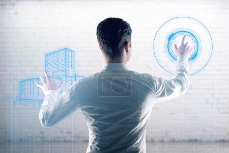 Engineer managing digital construction project