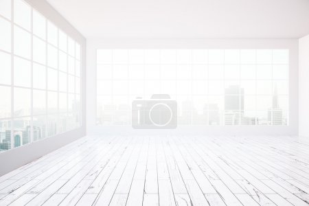 Photo for Bright white interior design with concrete walls, ceiling, wooden floor and city view. 3D Rendering - Royalty Free Image