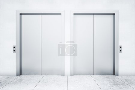 Front view of two elevators in light concrete interior. 3D Rendering