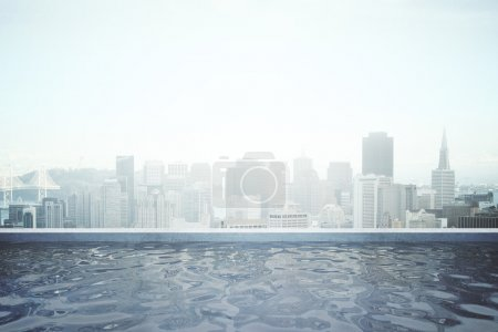 Photo for Rooftop swimming pool with panoramic city view. 3D Rendering - Royalty Free Image