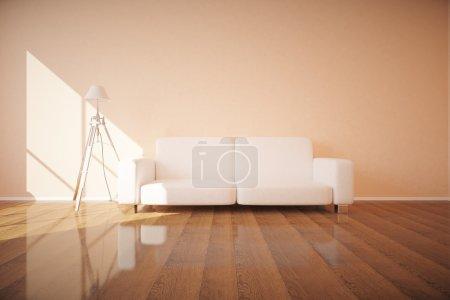 Sofa and lamp in interior