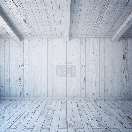 Photo pour Vue de face du mur vierge à l'intérieur de la planche de bois. Maquette, rendu 3D - image libre de droit