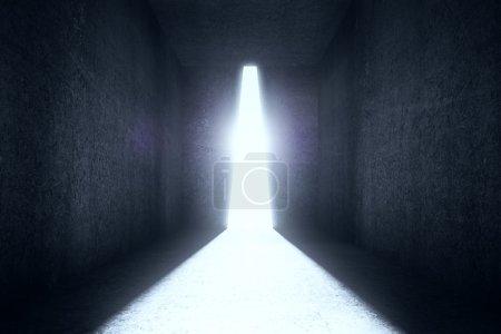 Photo pour Salle en béton texturé avec lumière lumineuse abstraite. Rendu 3D - image libre de droit