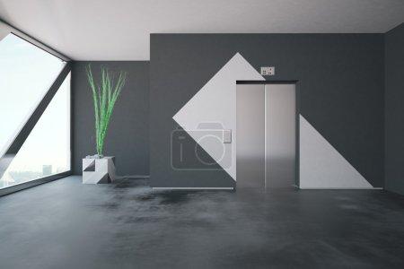 Photo pour Ascenseur dans l'intérieur en béton avec les murs modelés, la plante décorative et la fenêtre avec vue de ville et lumière du jour. Rendu 3d - image libre de droit
