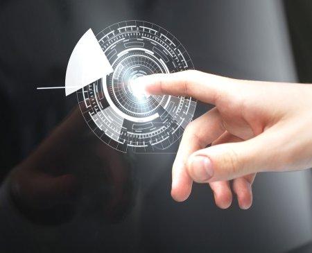 hand pushing circle interface on screen