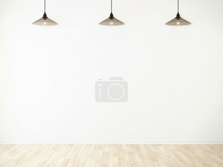 three glass lamp in room