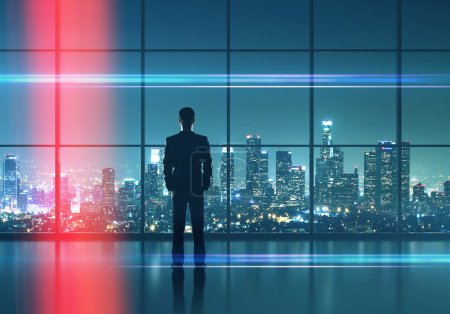 businessman  looking in night city
