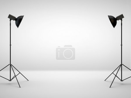 white studio with two light set-up, 3d rendering