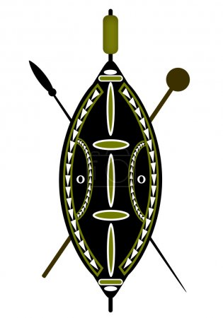 African warrior shield and spear