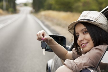 Photo for Girl with new car key - Royalty Free Image