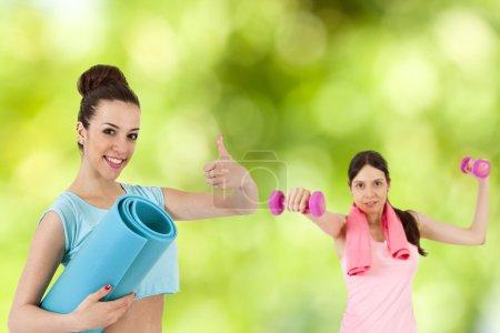 Fitness, couple woman