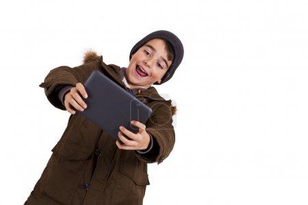 child isolated with tablet