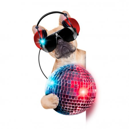 Photo pour Dj bulldog dog with headphones listening to music holding a disco ball, besides a white banner or placard , isolated on white background - image libre de droit