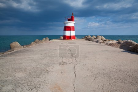 Lighthouse on the Tavira Island before storm, Algarve,Portugal