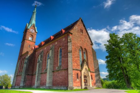 Historic red church in Zalesni Lhota, East Bohemia - HDR Image