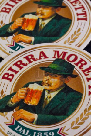 Budapest,Hungary-April 4,2014: Beermats from Birra Moretti - it