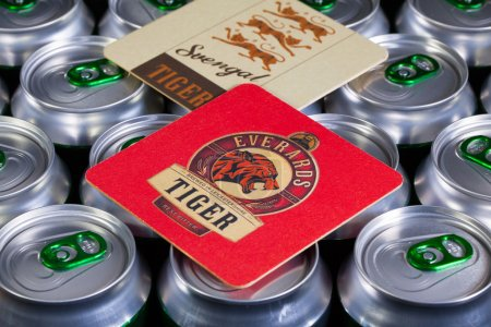 Beermat from Everards  beer on the cans.