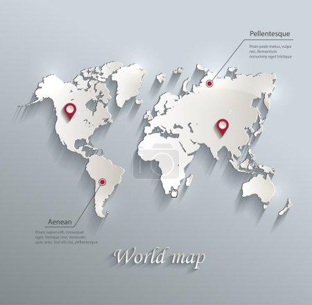 Monde carte bleu carte blanche papier 3d infographie vectorielle